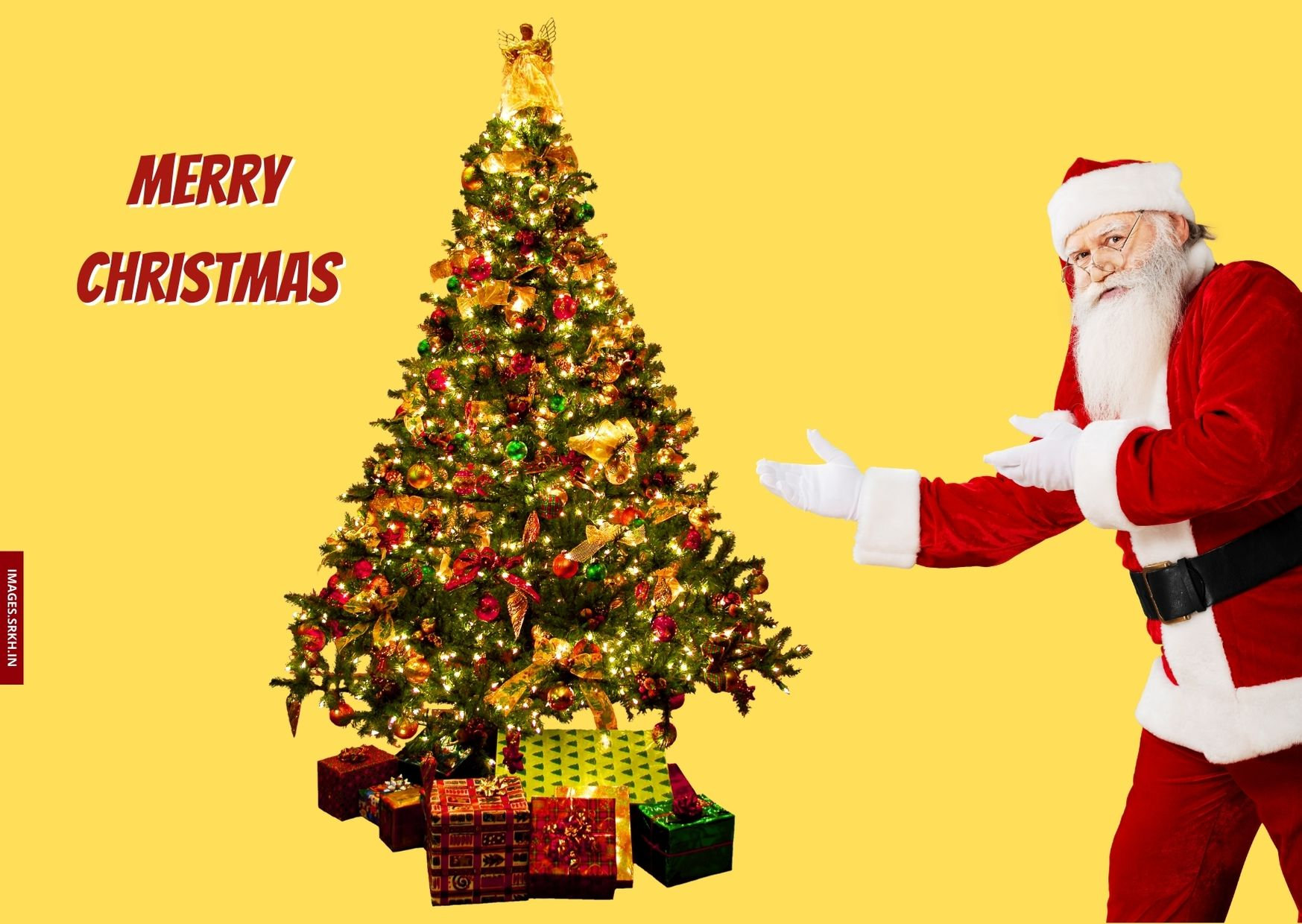 Santa Claus Images With Christmas Tree